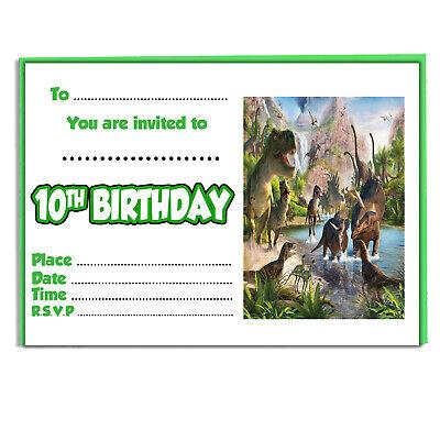 Kinder Dinosaurier Party Einladungen - Geburtstag Jungen Mädchen 20 & Umschläge