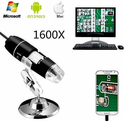 1600x Usb Digital Microscope Camera 8 Led Otg Endoscope Magnification W Stand