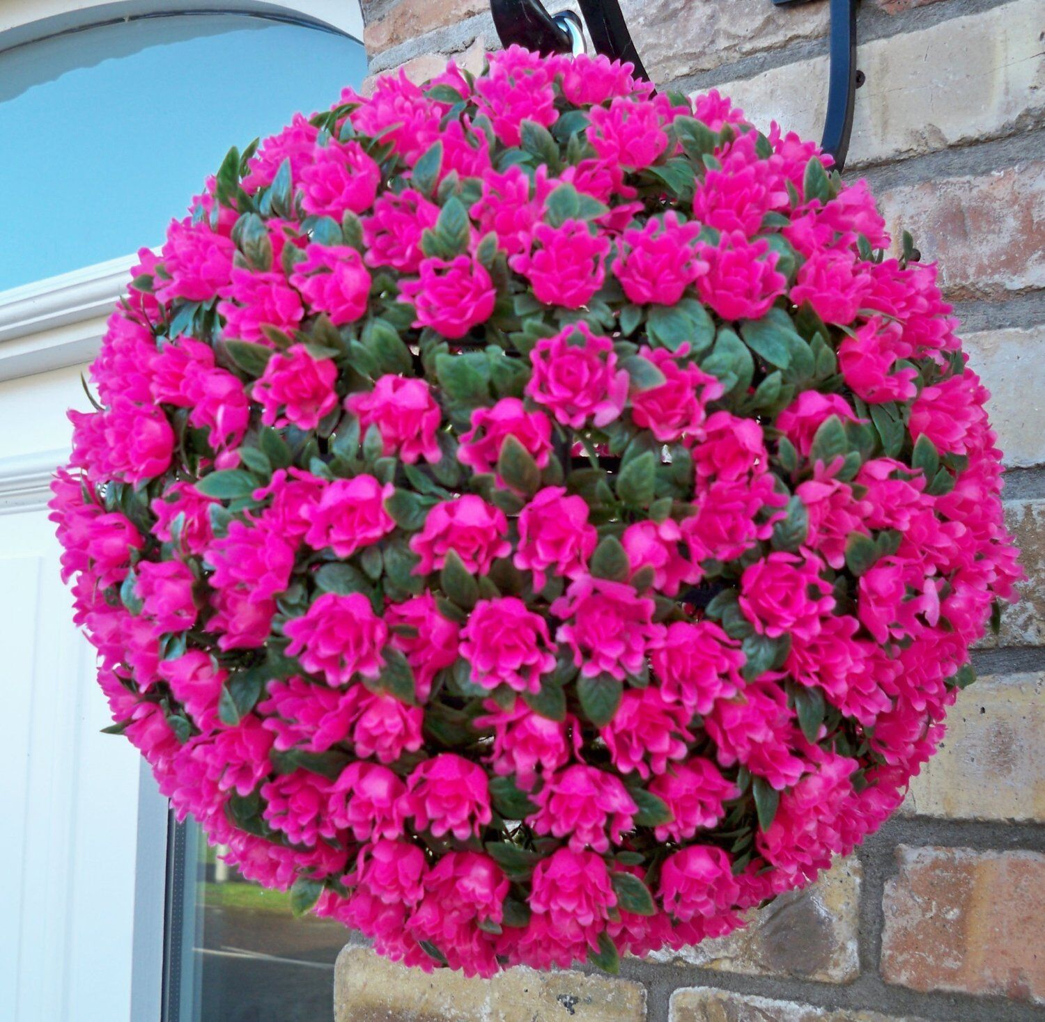 Best artificial 28cm pink rose topiary hanging flower ball for How to hang flowers