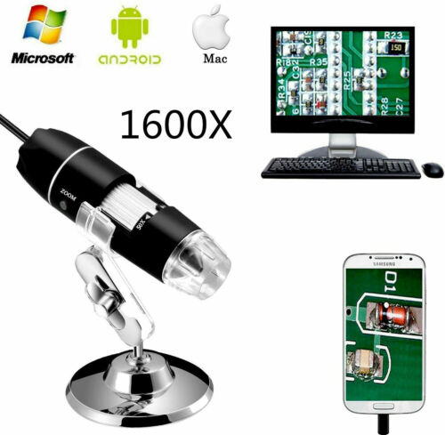 1600X 8LED USB Zoom Digital Microscope Hand Held Magnifier Biological Endoscope