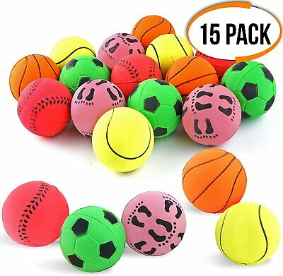 15 Pack Rubber Dog Play Balls Fetch Catch Throw Chew Bouncy Pet Training Toys