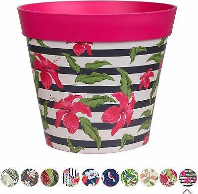Hum Flowerpots Plant Pot in Bright Pink Hibiscus Stripe Plastic - 25cm x 25cm