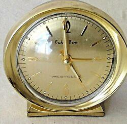 Westclox Baby Ben Gold Tone Alarm Clock Battery Operated Luminous Hands Tested