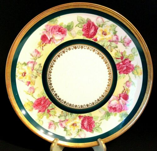 """ANTIQUE CORONET LIMOGES FRANCE PLATE RED & YELLOW ROSES GOLD ACCENTS 9 3/4"""""""