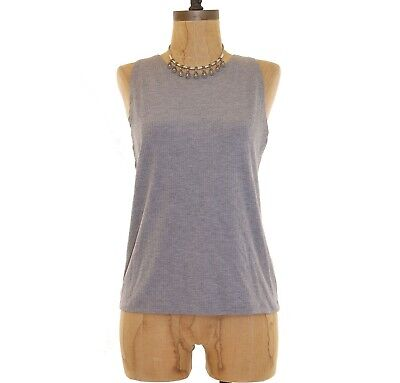 - Topshop Kim Tank Top Size 12 Ribbed Jersey Slim Fit Sleeveless Gray EUC B77