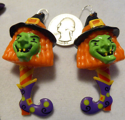 WITCH HAT Purple Boot Shoes SCARY 925 EARRINGS HALLOWEEN Handcrafted USA Nora's - Scary Halloween Shoes