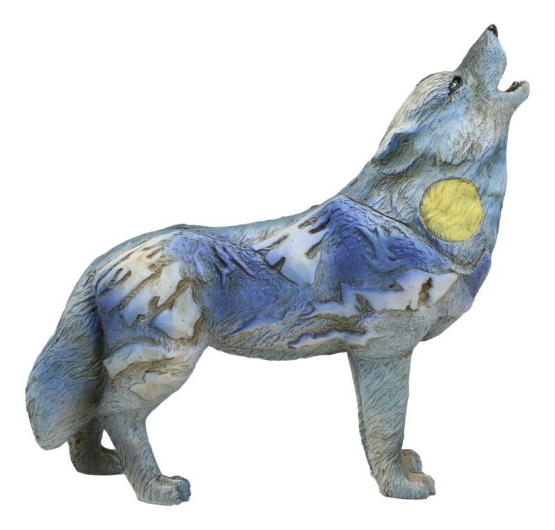 """Moon Mountain Native Tribal Howling Wolf Totem Spirit Figurine Collection 6""""L"""