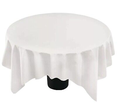 """82"""" WHITE ROUND Tablecloth PAPER TISSUE/POLY LINED TABLE COVER OCTAGON SHAPE-4pk"""