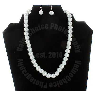 Faux Pearl Necklace Earring Set White Wedding Bridesmaid Women Girl Long 16