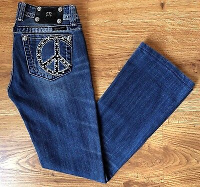 Miss Me Distressed Bootcut Low Rise Peace Sign Stretch Jeans Womens Hemmed Sz 27 ()