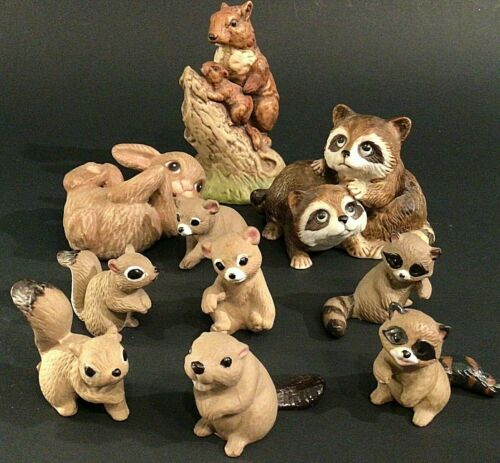 SQUIRREL RACCOON BEAR BEAVER FIGURINES LOT OF 10 NAPCO HOMCO VINTAGE