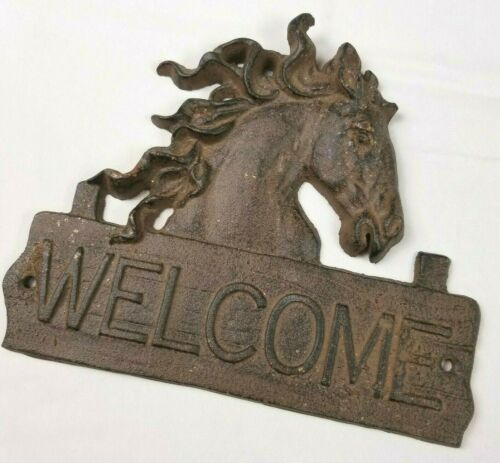 Vintage Rustic Cast Iron Horse Welcome Sign Hanging Plaque Western 8 x 9 inch