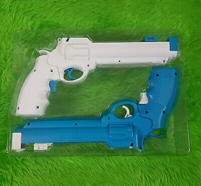 wii REVOLVER GUNS X2 White+Blue Wild West Pistols NEW Light Gun Shooter...