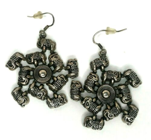 "Elephant Earrings Figural Dangle Drop Trunk Up Silver Tone 1.5"" Round Herd Wheel"