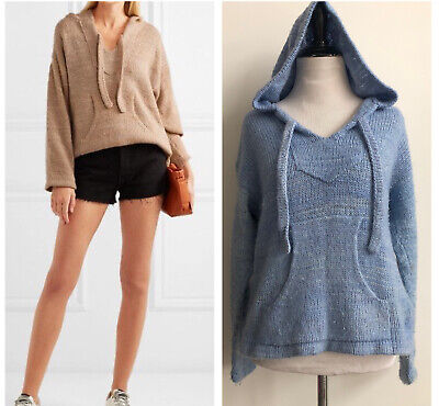 The Elder Statesman Sweater Baja Cashmere Hoodie Hooded Pullover Blue XS $2110