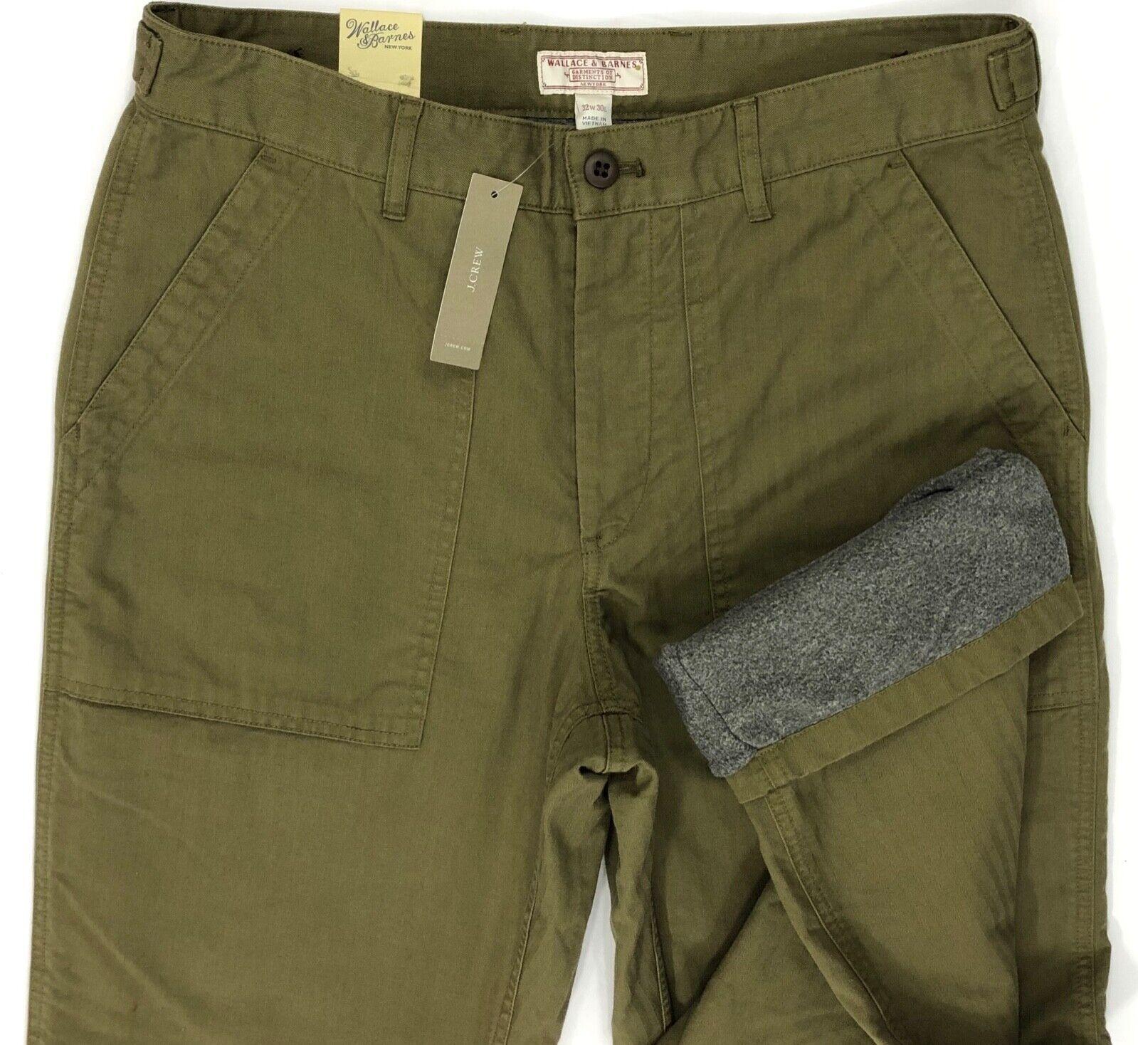 J Crew Wallace Barnes Flannel Lined Camp Pants Herringbone M