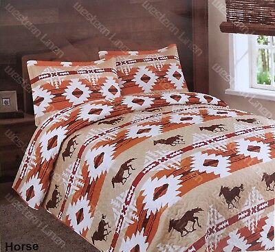 3 Piece Aztec Mesa Horses Quilt Rustic Western Bedspread Comforter Bedding Set! ()