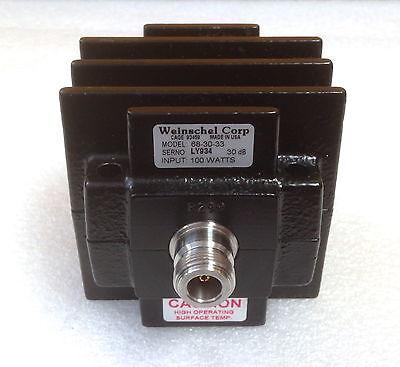 Weinschel 68-30-33 100 Watts 30 Db Dc To 4 Ghz Type N F-f Coaxial Attenuator