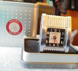 New old stock Running Fossil Travel Alarm Clock 3 in metal box w/extra battery