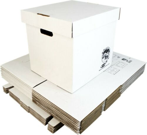 "(10) 12"" White Record Boxes with Lids - LP Vinyl Album 33rpm Cardboard Storage"