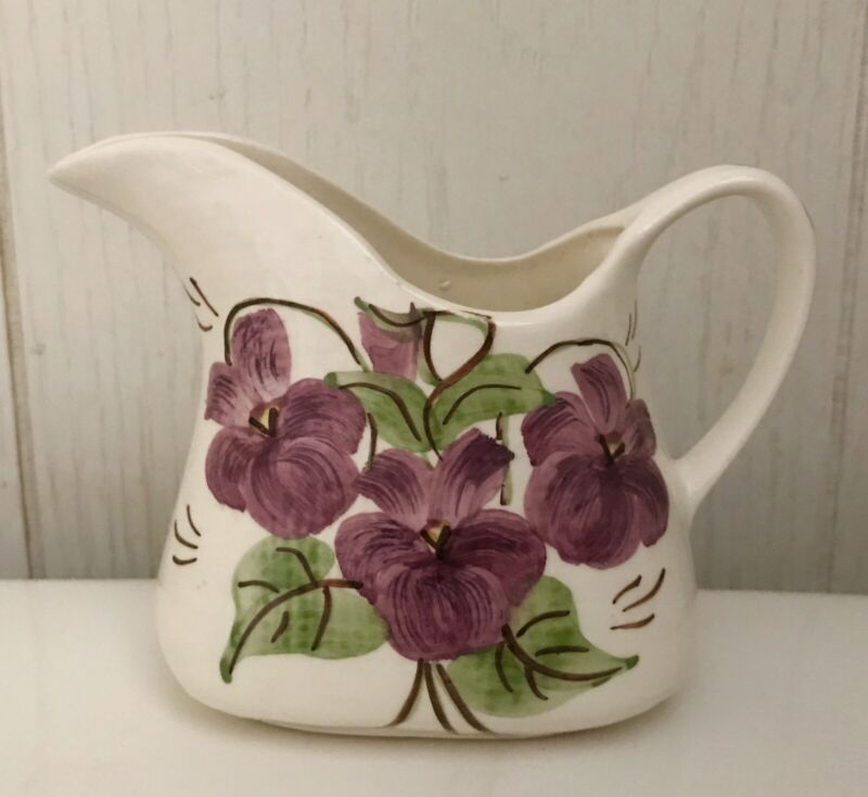 Cash Family Pottery Violet Purple Floral Mini Pitcher Creamer Gravy Boat 4 Inch