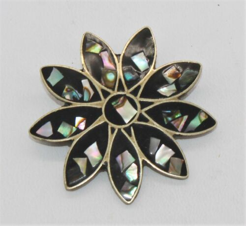 Silver/Silver Plate  Abalone Flower Design Pin Brooch - Marked Alpaca Mexico
