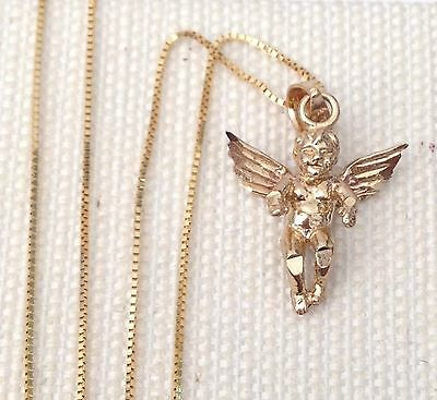 Real 10k Yellow Gold Religious Angel Guardian 3D Charm Pendant Box chain 18