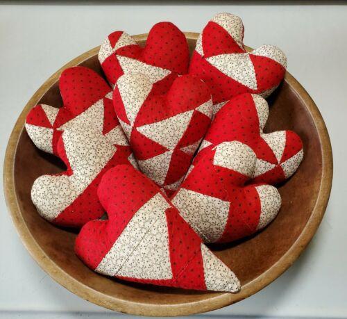Vintage Primitive Cutter Quilt 8 Hearts Bowl Fillers Red & White