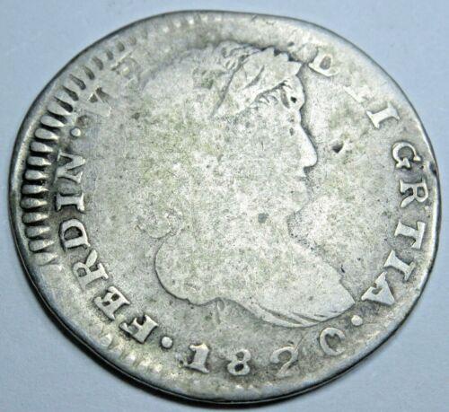 Gratia Grtia Error 1820 Zacatecas Mexico 1/2 Reales Silver Spanish Colonial Coin