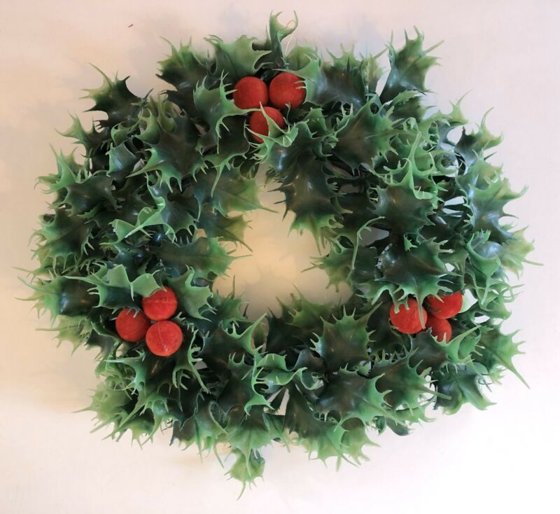 "Vintage Christmas Wreath 12"" Plastic Holly Leaves And Red Slicked Berries"