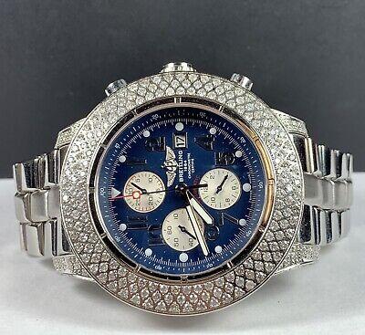 Breitling Super Avenger 48mm 6ct Genuine Diamonds Blue Dial Mens Watch A13370