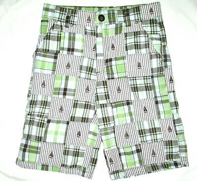 GYMBOREE boys PATCHWORK PLAID shorts 8 green gray blue SAILBOAT cotton EUC