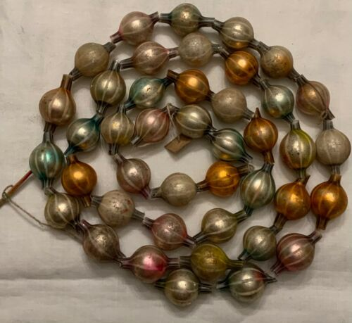 RARE! ANTIQUE GERMAN FADENGLAS ART GLASS BEAD GARLAND - PASTELS!