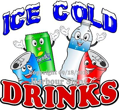 Ice Cold Drinks Decal Choose Your Size Water Soda Truck Concession Sticker