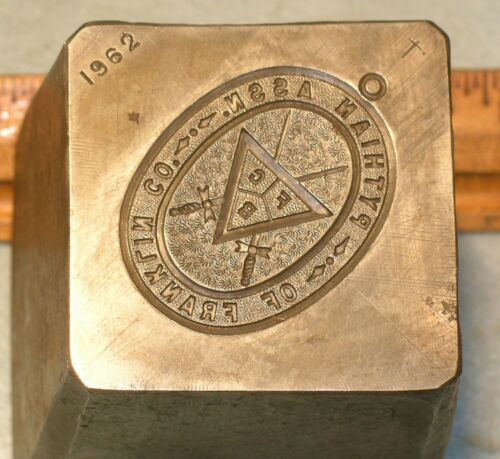 Antique 1911 PYTHIAN ASSOC OF FRANKLIN COUNTY PA Badge Stamping Die * MC Lilley