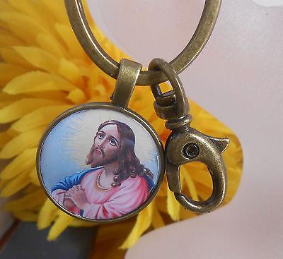 Schlüsselanhänger Taschenbaumler Jesus Religion + Ring + Karabiner Cabochon