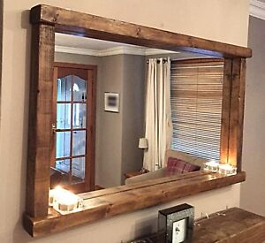 Handcrafted Rustic Farmhouse Country Style Chunky Wooden Mirror With Shelf