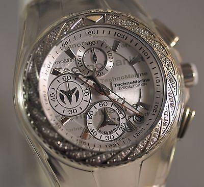 New Womens Technomarine 115383 Cruise Glitz Chrono Silver Dial Silicone Watch