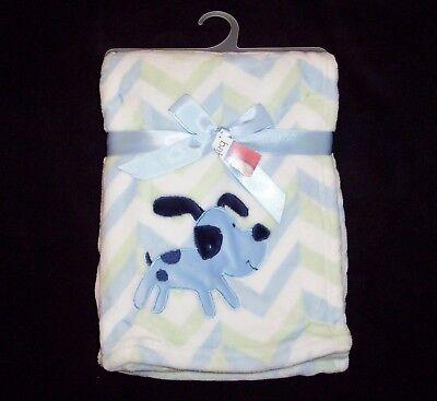 NEW Baby Essentials Puppy Dog Blanket Blue Green Chevron 30x40 Security Lovey