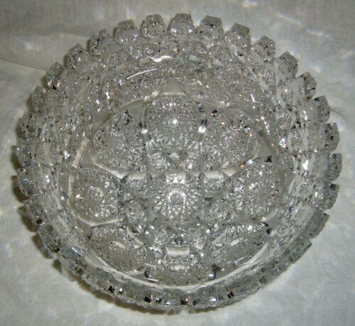 "ANTIQUE COVINGTON GLASS WORKS AMERICAN BRILLIANT PERIOD DUCHESS ROSE CUT 9"" BOWL"