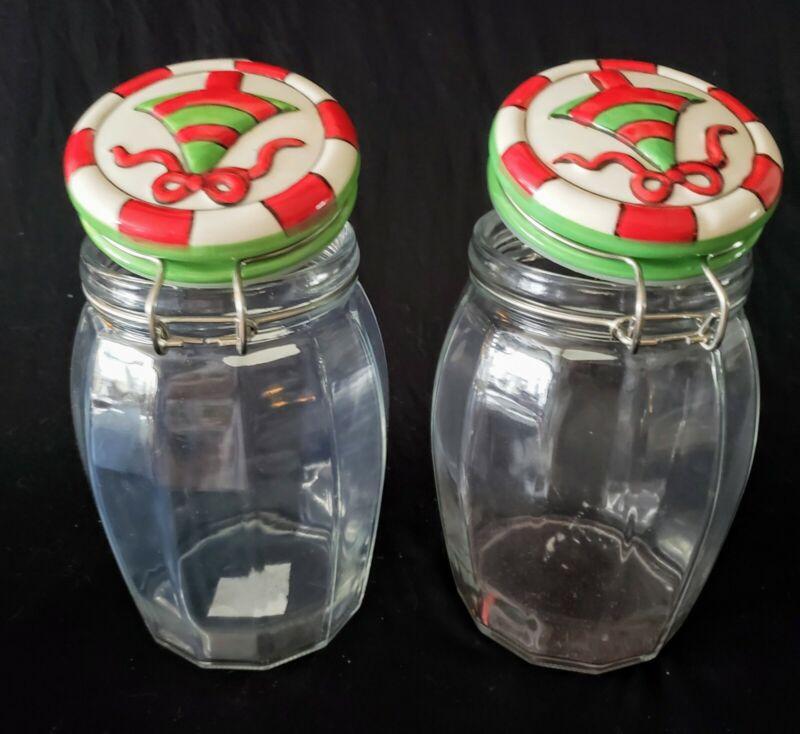 Vintage Lid Lock Glass Storage Jar Amici Marble Handmade Christmas Lot of 2