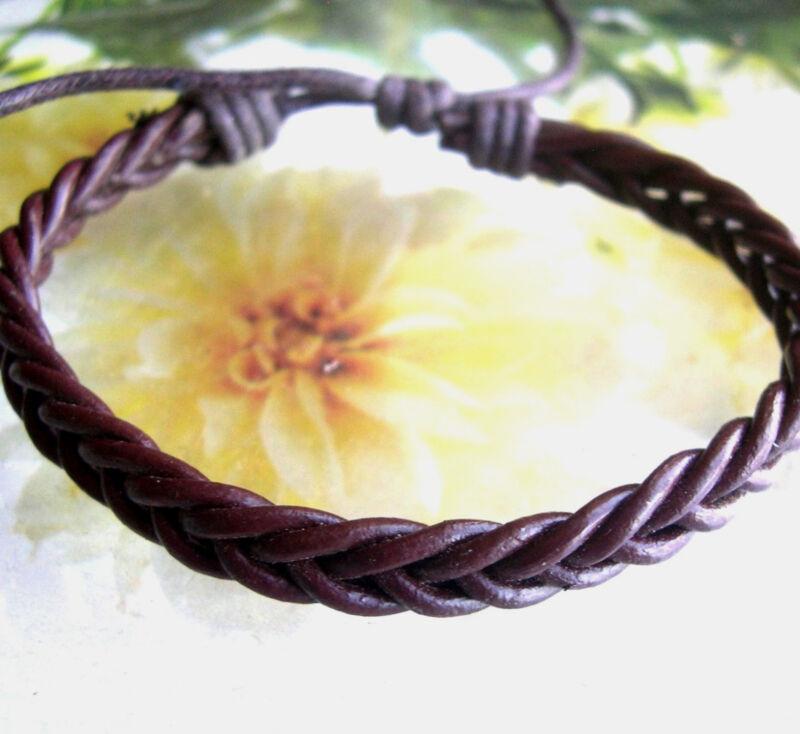 Men Classic Leather Woven Fashion Surfer Biker Characters Wristband Bracelet