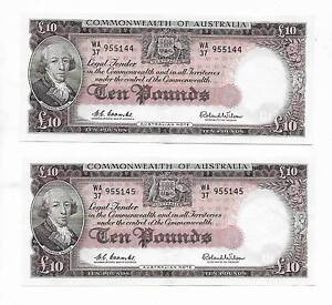 BANKNOTES: 4 X R63 TEN POUND NOTES CONSECUTIVE NUMBERS HIGH GRADE Kununurra East Kimberley Area Preview