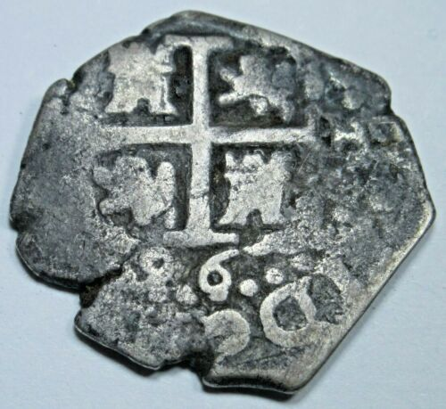 1696 Spanish Lima Silver 1 Reales Piece of 8 Real Old Pirate Treasure Cob Coin