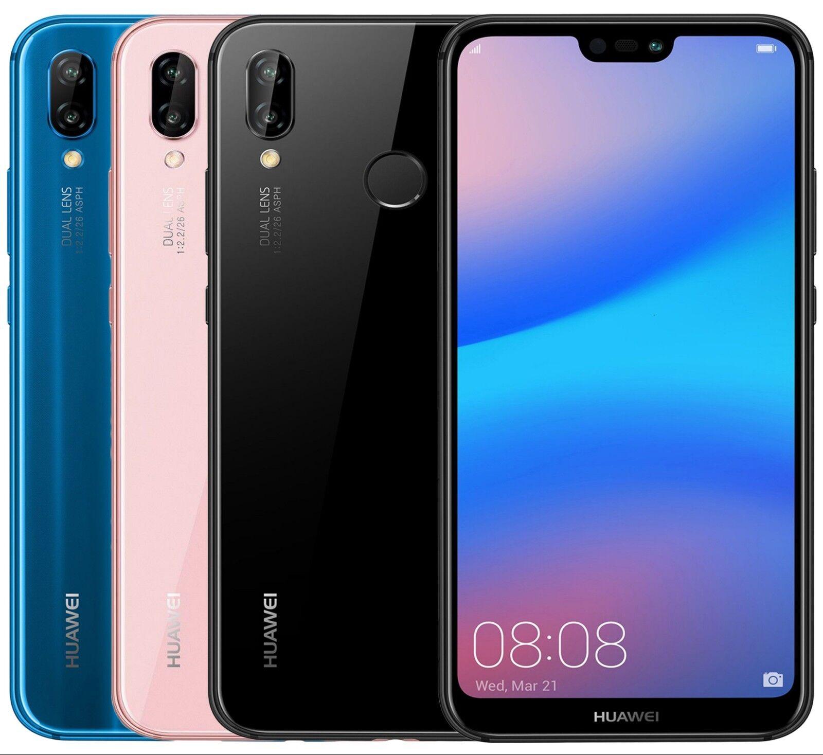 "Android Phone - Huawei P20 Lite ANE-LX3 Dual Sim (FACTORY UNLOCKED) 5.8"" 4GB RAM Black Blue Pink"