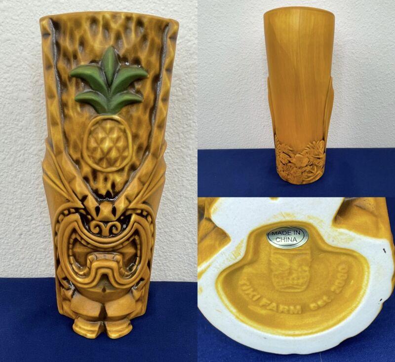 """The Pineapple King Tiki Mug Tiki God Lono Amber with Green 16oz 7.25"""" SOLD OUT"""
