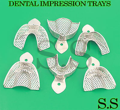 6pcs Dental Stainless Steel Impression Tray Bite Denture Instrument