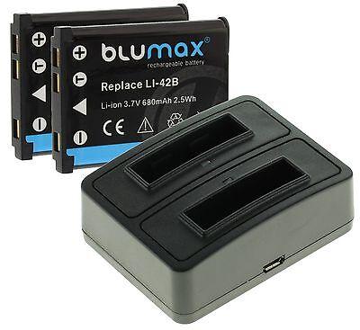 2x Akku 680mAh + DUAL USB Ladegerät für Fuji film FinePix XP130 / NP-45 A B S 680 Usb
