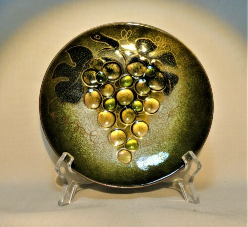 """Mid Cent Modern MARGARET RATCLIFF  ENAMEL on COPPER 6"""" PLAQUE WALL PLATE"""