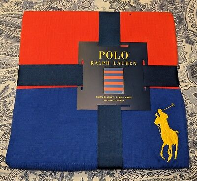 Polo Ralph Lauren BIG PONY  Throw Blanket, Blue/Orange  50